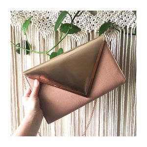 Rose Gold Faux Leather Envelope Clutch